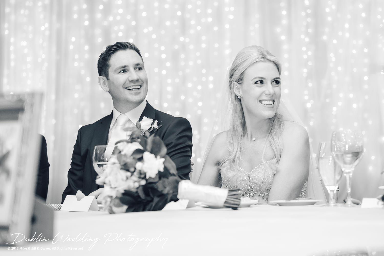K Club, Kildare, Wedding Photographer, Dublin, Bride and Groom laughing at the top table
