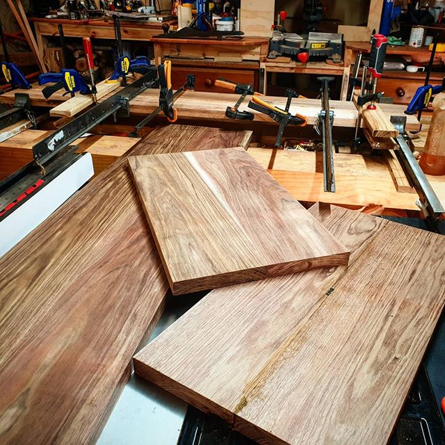 Another board in clamps getting there slowly  #blackwood #woodworking