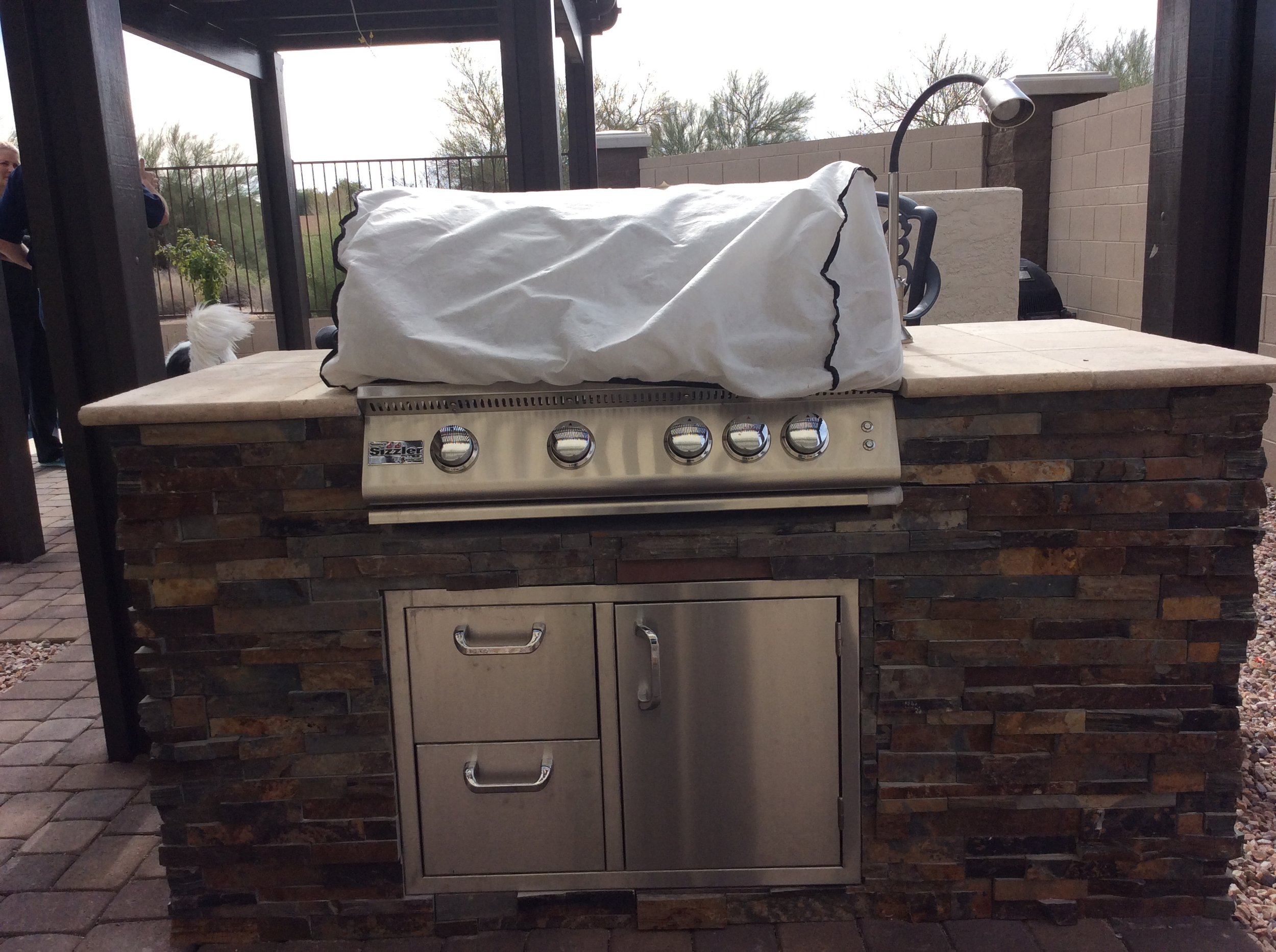 Close u[p 6 foot bbq island with stacked stone.JPG