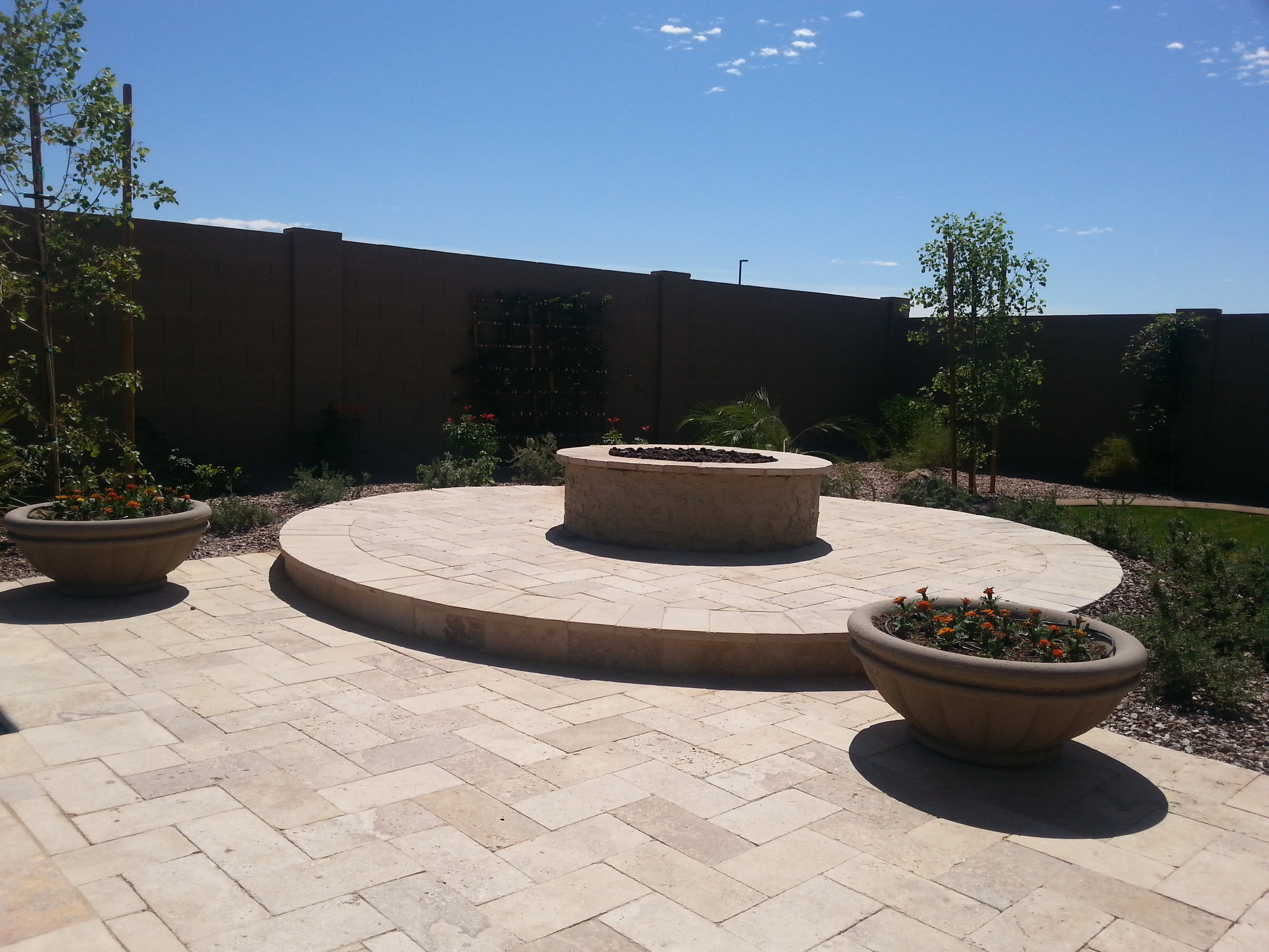 Fire pit with Travertine Cap.jpg