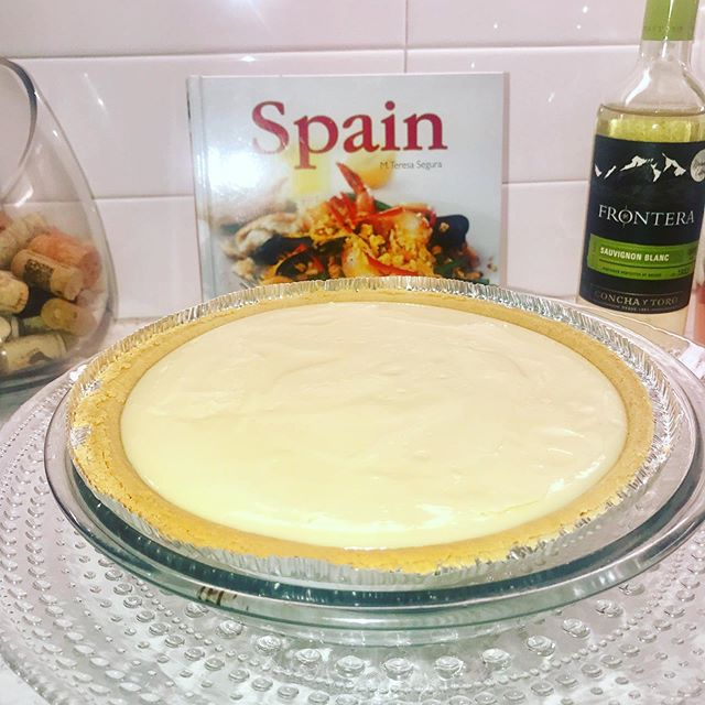 One of my favorite pastimes is cooking. - I baked a few key lime pies last night and now I'm enjoying a slice for lunch. - #bonappetit #homechefmeals #deserts #keylimepie #foodie😋 #cheflife🔪 #fromscratchwithlove #lunchtime🍴#hellojuly☀️