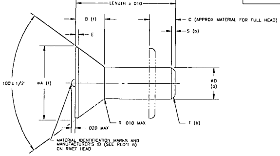 Figure 2: Dimensional diagram of a flush head solid rivet. Taken from MS20426L Military Specification Sheet Rivet, Solid, Countersunk 100 deg, Precision Head, Aluminum and Titanium Columbium Alloy (for reference).