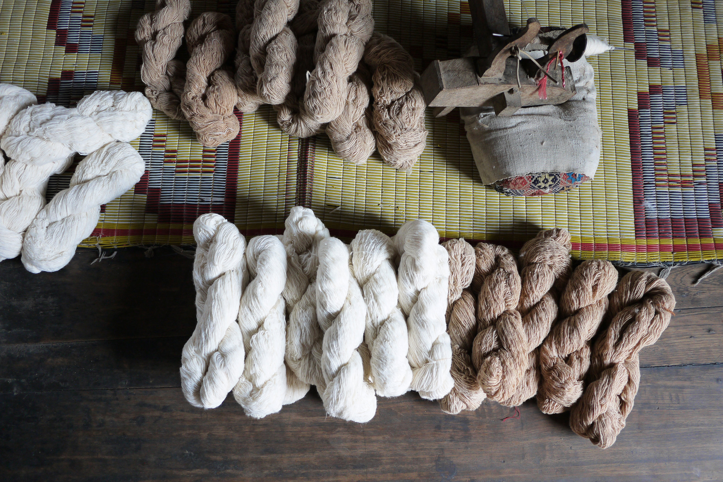 Hand-spun cotton yarns locally produced in Mae Chaem