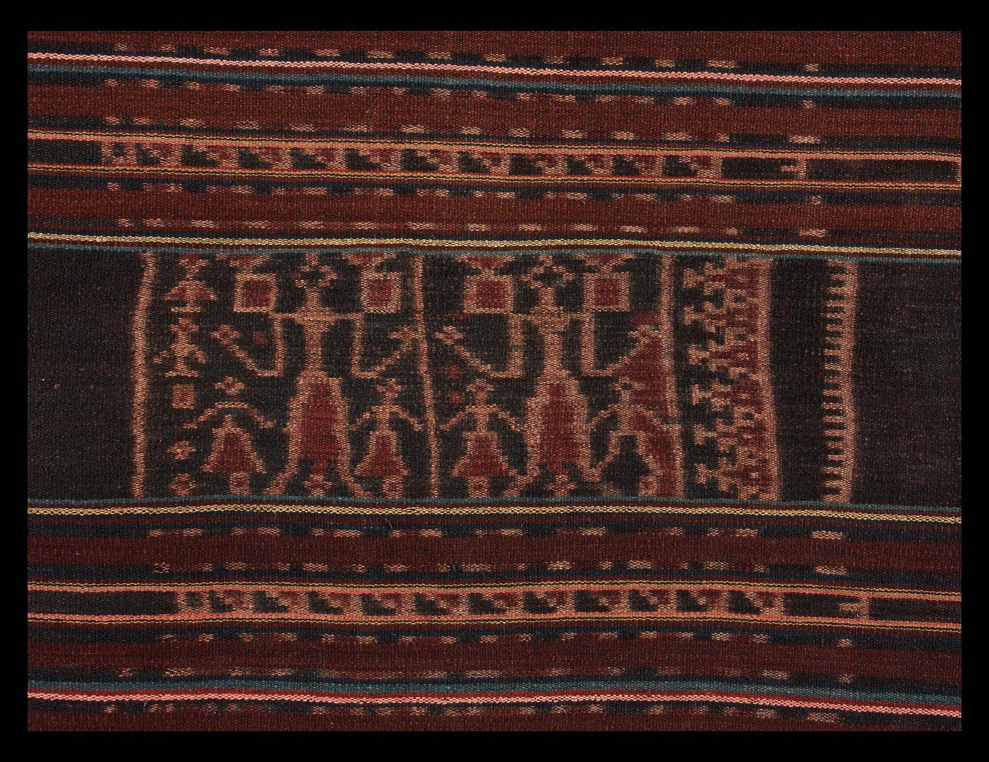 Details of 19th century sarong with double headed eagles.  Made with handspun cotton, Kisar, Indonesia  138 x 118   Samyama  Collection.
