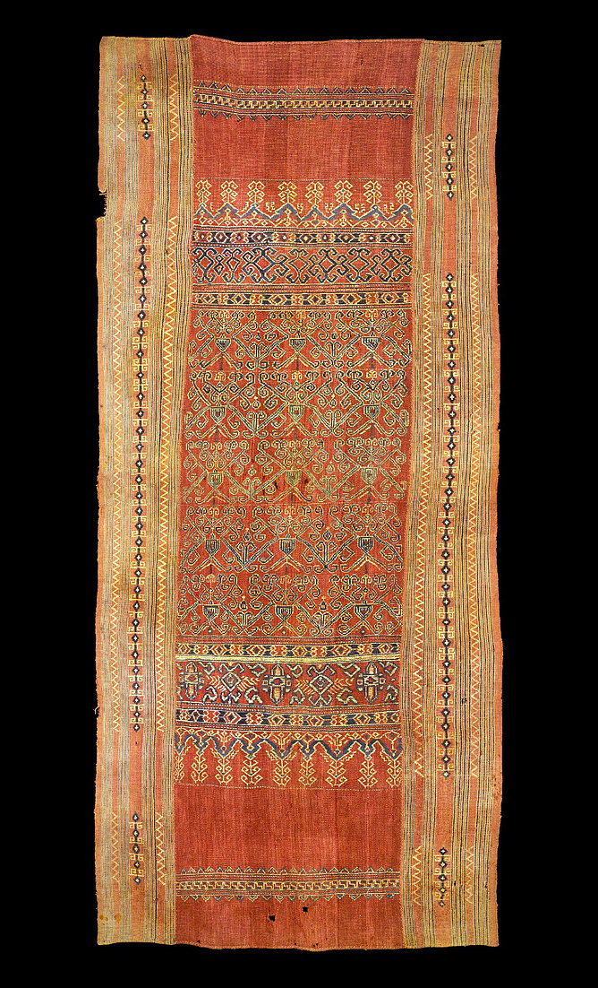 1800-1880s Pua Sungkit, ceremonial hanging.  Made of handspun cotton with supplementary weft wrapped around warp. Natural dyes. Iban people, Sarawak, West Malaysia.   88 x 190 cm   Samyama  Collection.