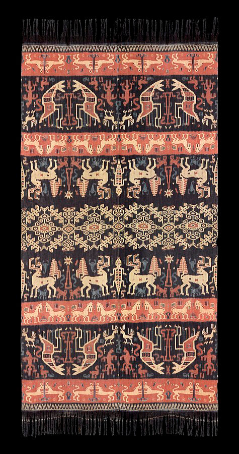 1940s Hinggi Kombu, man's ceremonial shoulder wrap.  Made of cotton alternating orange and dark brown bands with warp Ikat rows of animals and sea creatures and a large patola ratu band in center. Natural dyes. Sumba people, Hangaroau Village near Rende, East Sumba, Indonesia.  134 x 252 cm   Samyama  Collection.