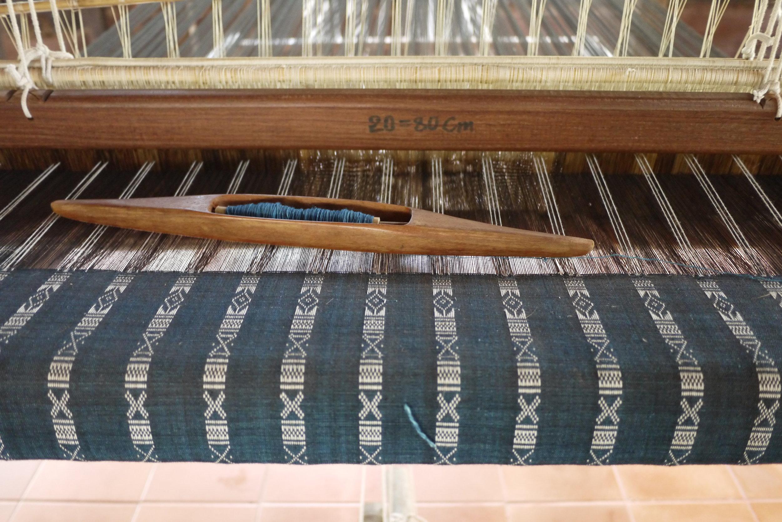 Work-in-progress on a loom