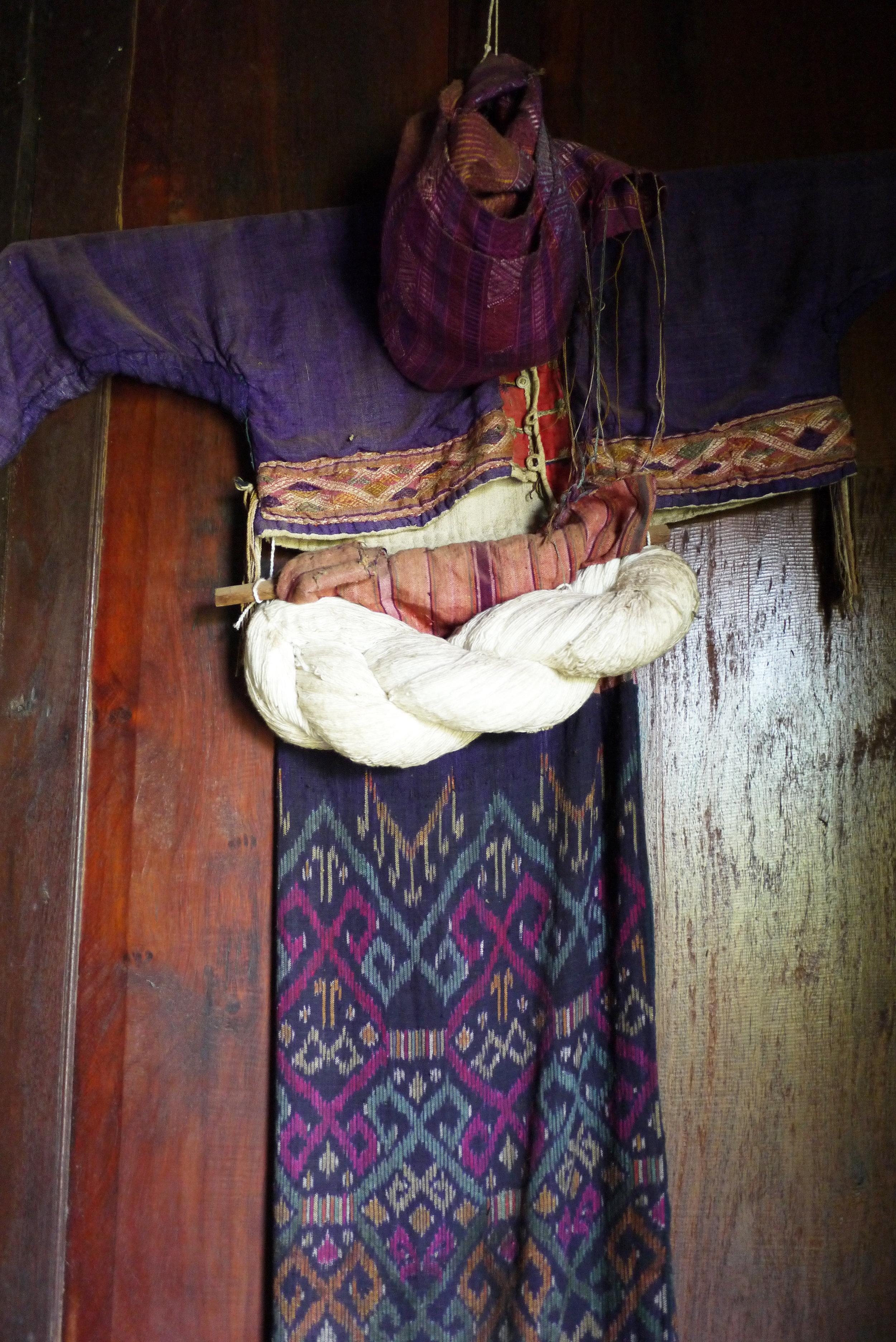 Antique 'Tai Moei' costume on display