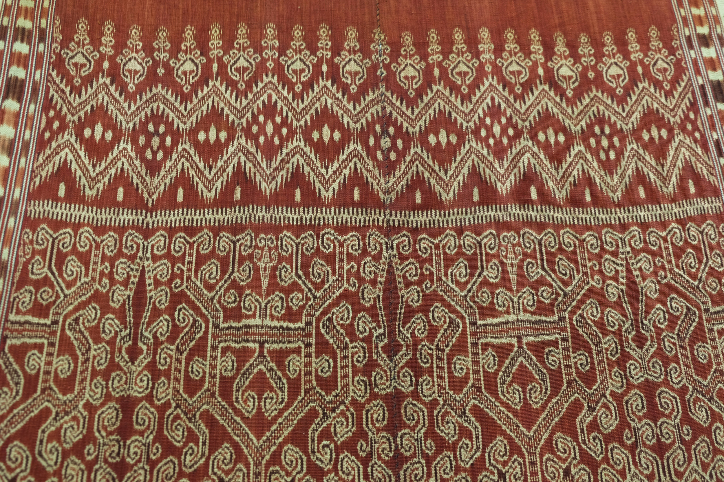 Borneo, Sarawak Saribas, Iban people  Pua , ritual blanket Warp ikat in hand-spun cotton 1940
