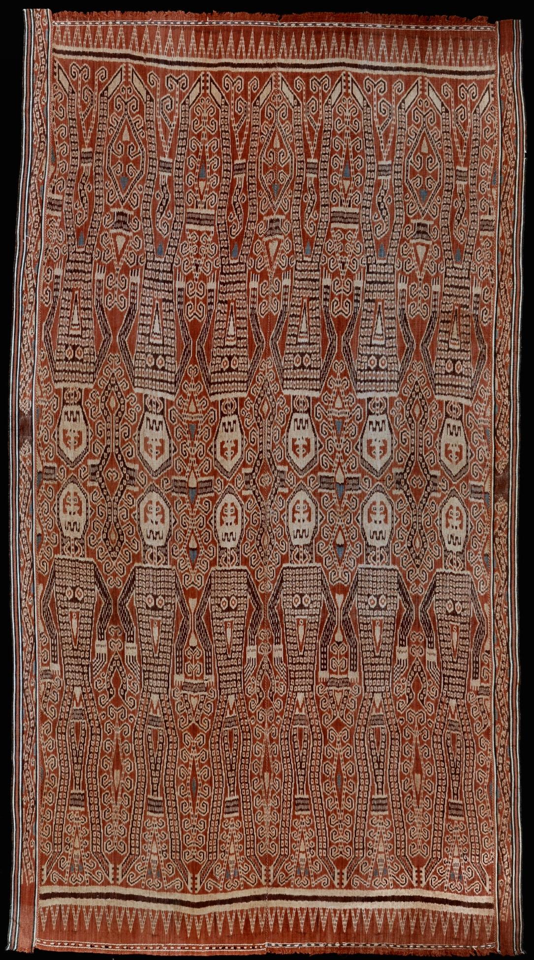 Borneo, Sarawak Iban people  Pua , ritual blanket Warp ikat in hand-spun cotton 1925–1945