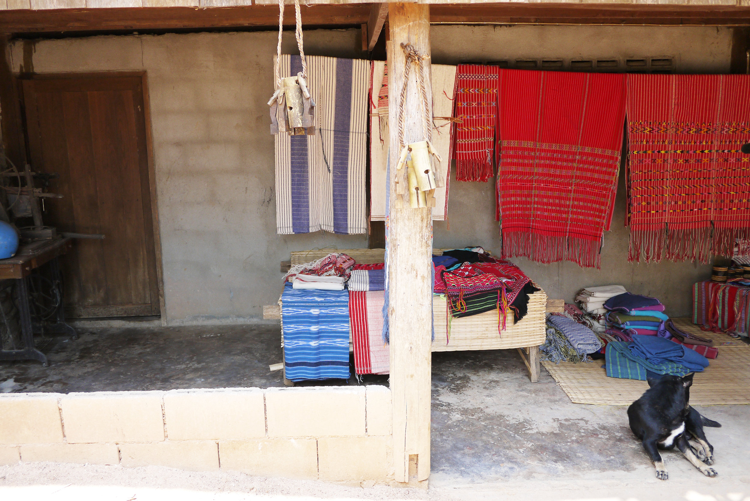 Textiles products for sale at a Karen microenterprise in Mae Chaem district, Chiang Mai Province, Thailand.