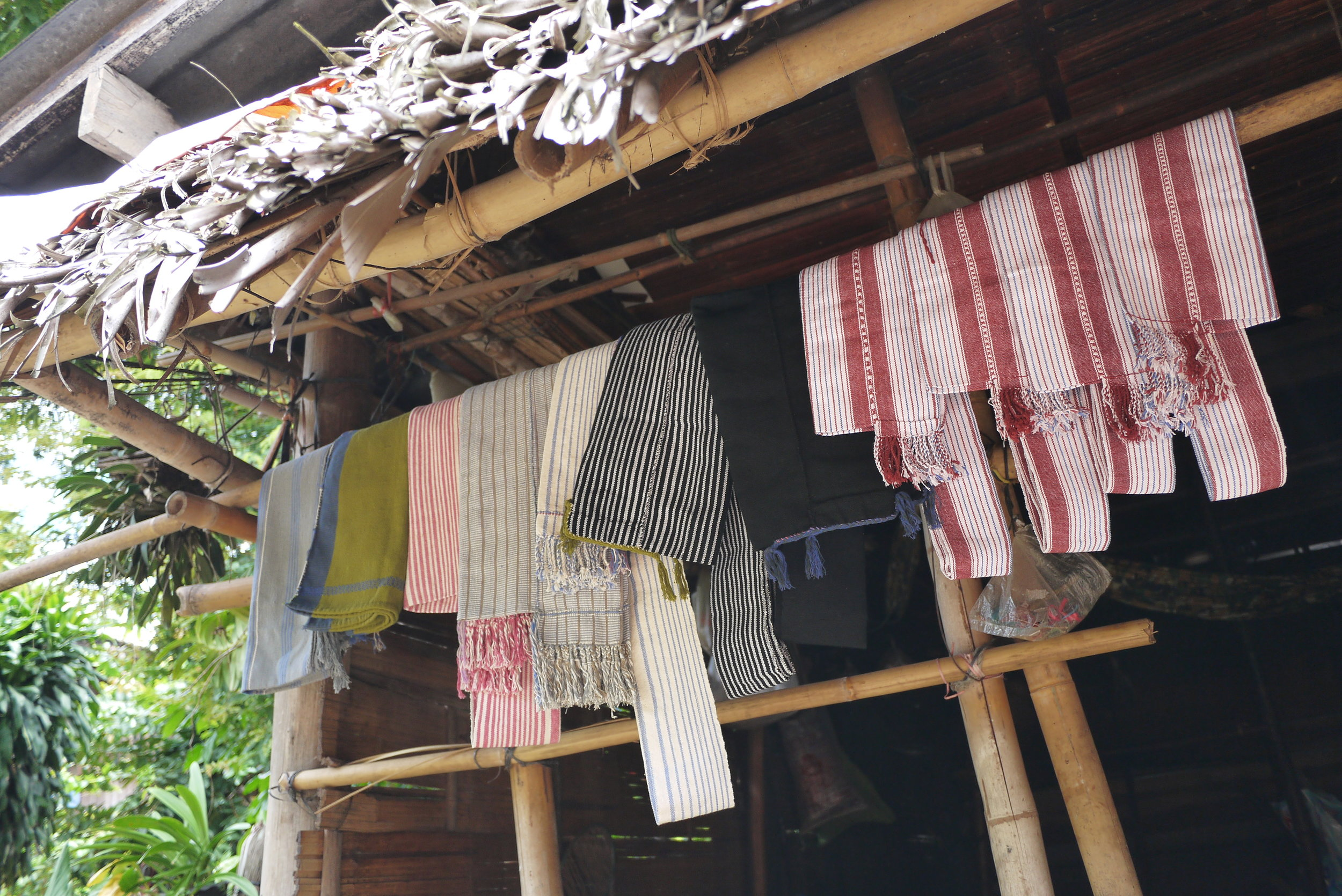 Cotton bags on display in a Karen village at Mae Takri National Park, Doi Saket District, Chiang Mai Province.