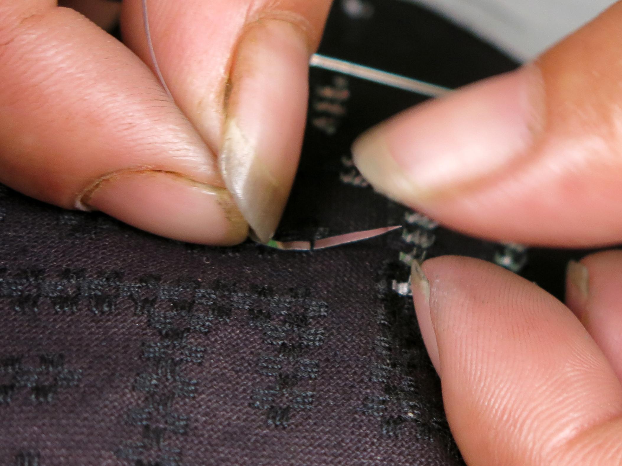 Tin strip threading into pick line