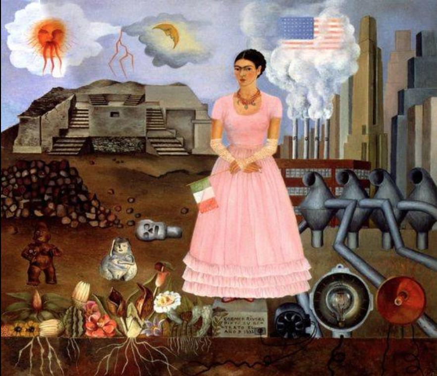 Autorretrato en la frontera entre Mexico y Estados Unidos, 1932, Frida Kahlo. Fundacion Fana Holtz.