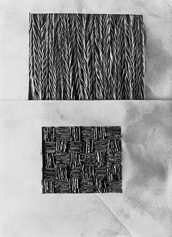 Material studies creating textile effects from Anni Albers's weaving class at Black Mountain College, ca. 1938-42. Photograph by Claude Stoller