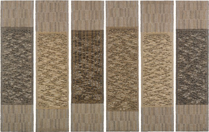 Anni Albers. Six Prayers, 1966–67. Cotton, linen bast, silver lurex. 186 × 48.9 cm each panel. Jewish Museum, New York