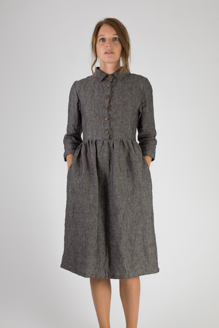 Linen-Dress-Gray-Collar-Buttons-Midi-Length-Fall-Winter-Pyne-and-Smith-Model-22-Style-22101-002-01.jpeg