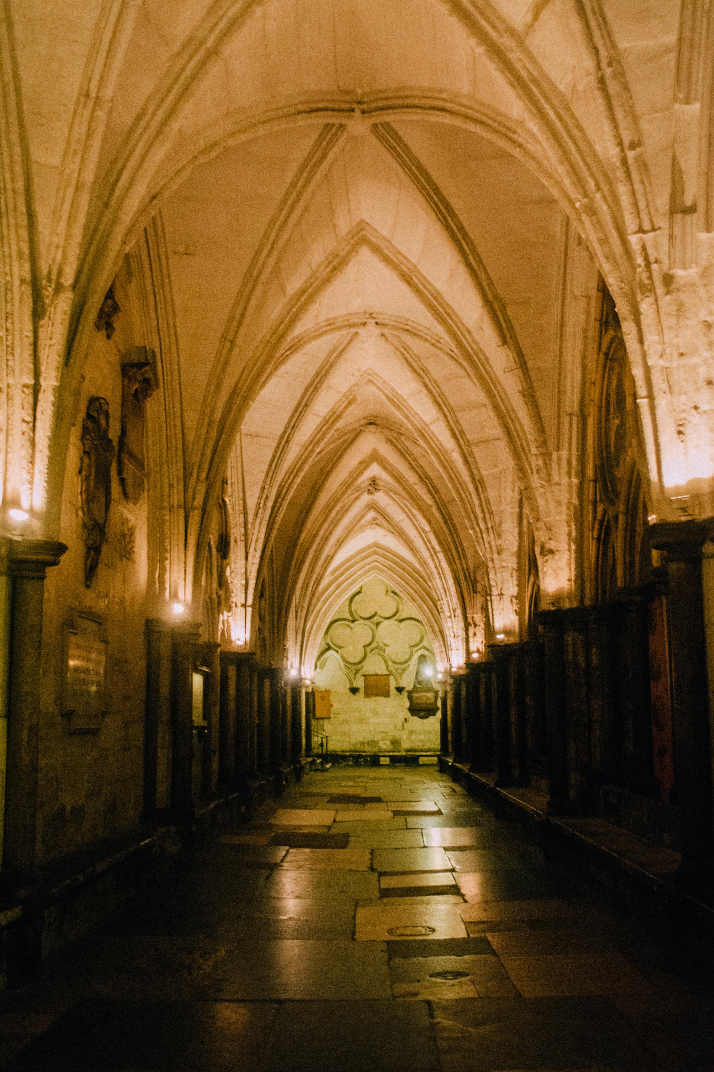 Inside Westminster Abbey.