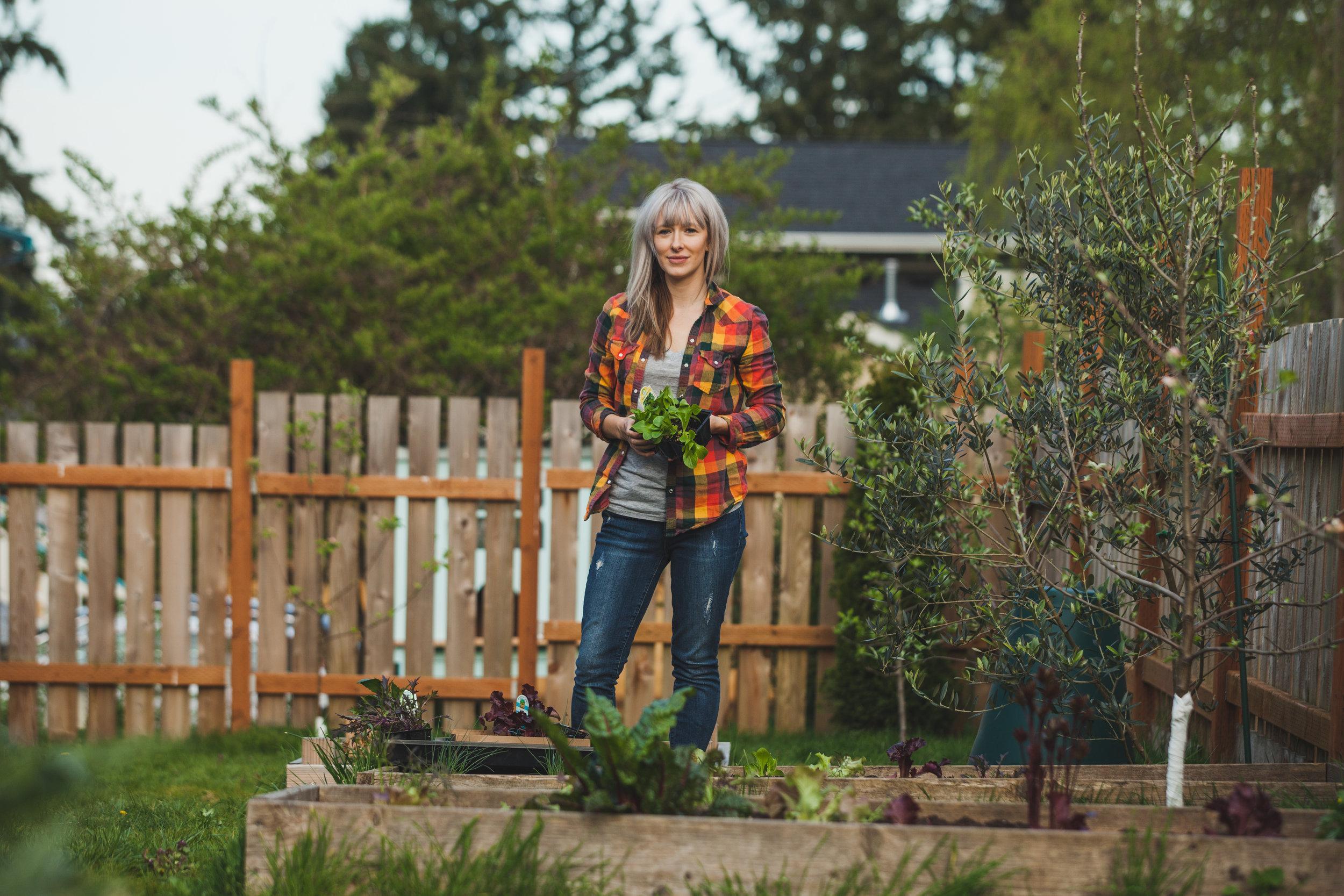 Sarah in her garden!