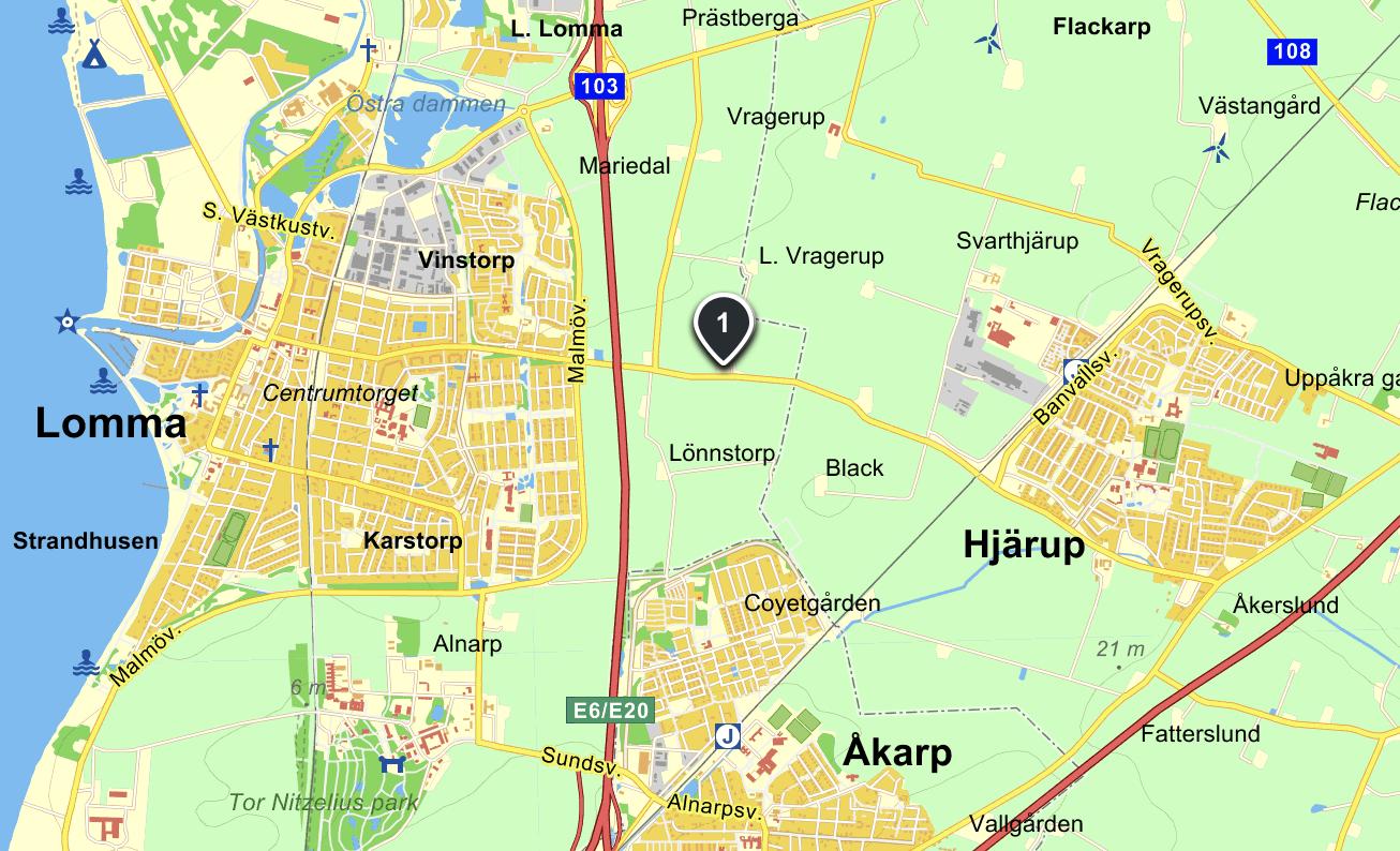 Hitta till oss på Vinstorpsvägen 47 i Lomma !