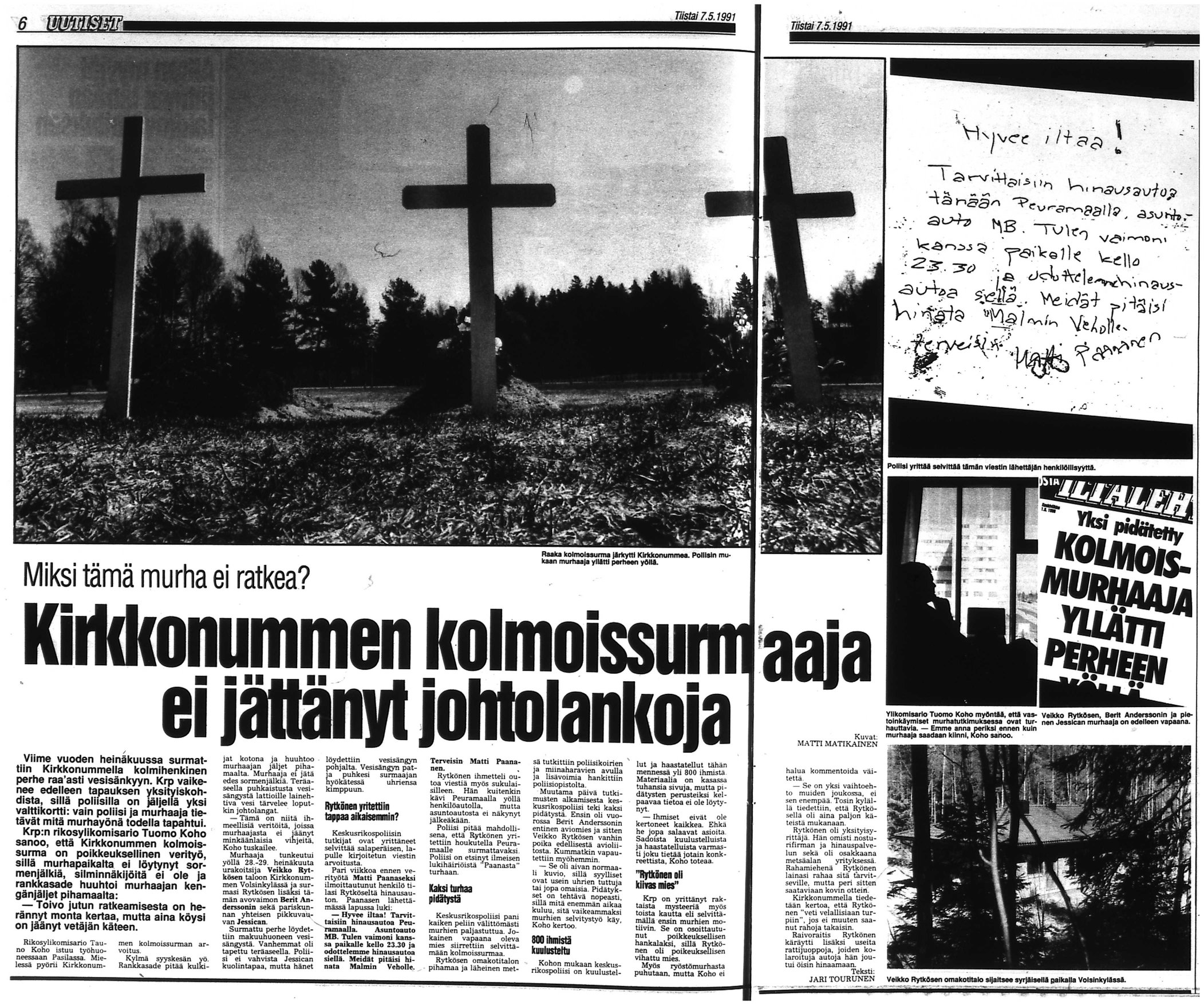 An old newspaper clip about the murders (in Finnish) courtesy of Iltalehti.