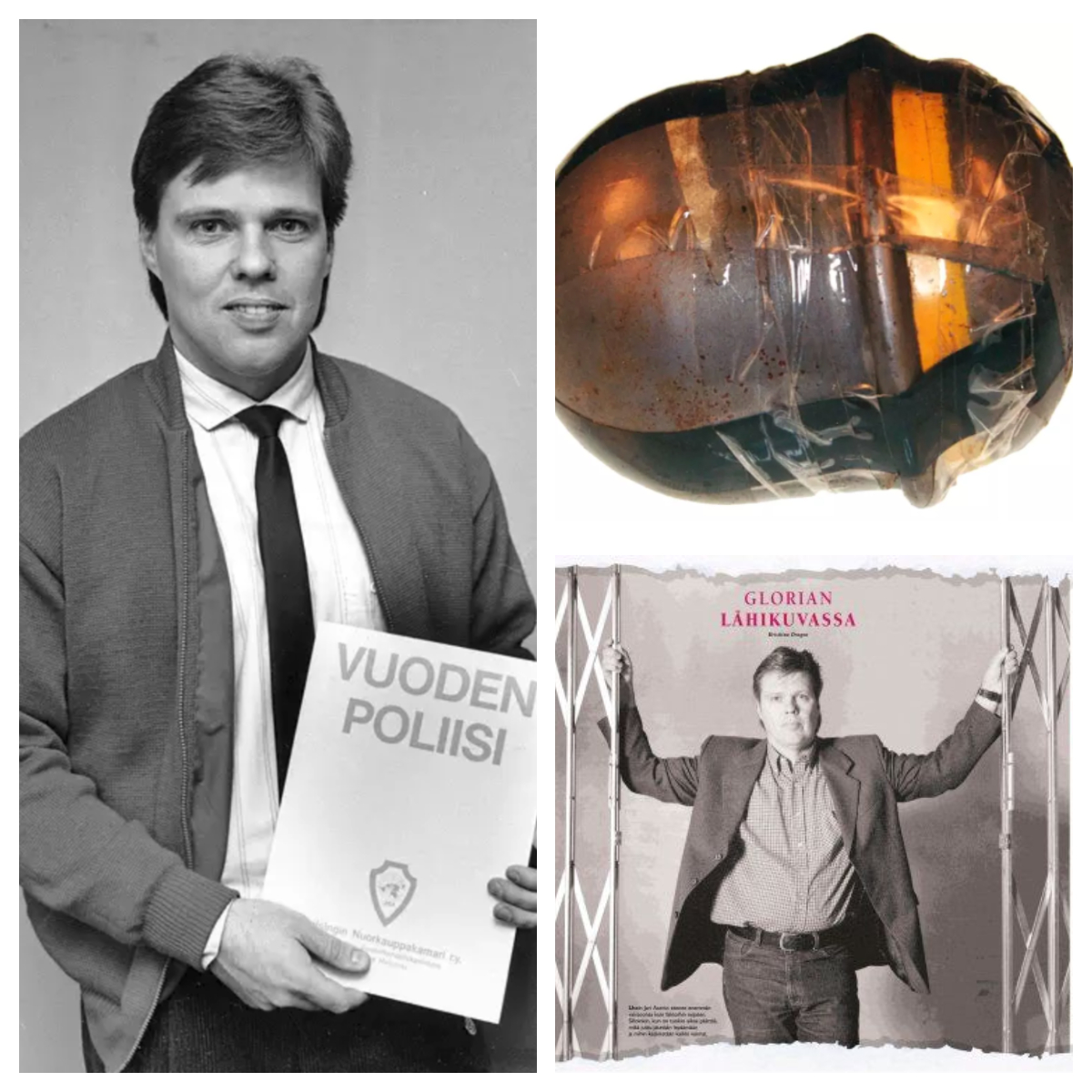 Jari Aarnio was chosen police officer of the year in 1987 and received this certificate. On the right is the bomb that was found on his yard.