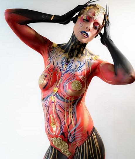The beautfiul isabela strikes a pose in her fashion inspired 2 hour speed bodypaint, created by Victoria Gugenheim.  Photo: David Addis