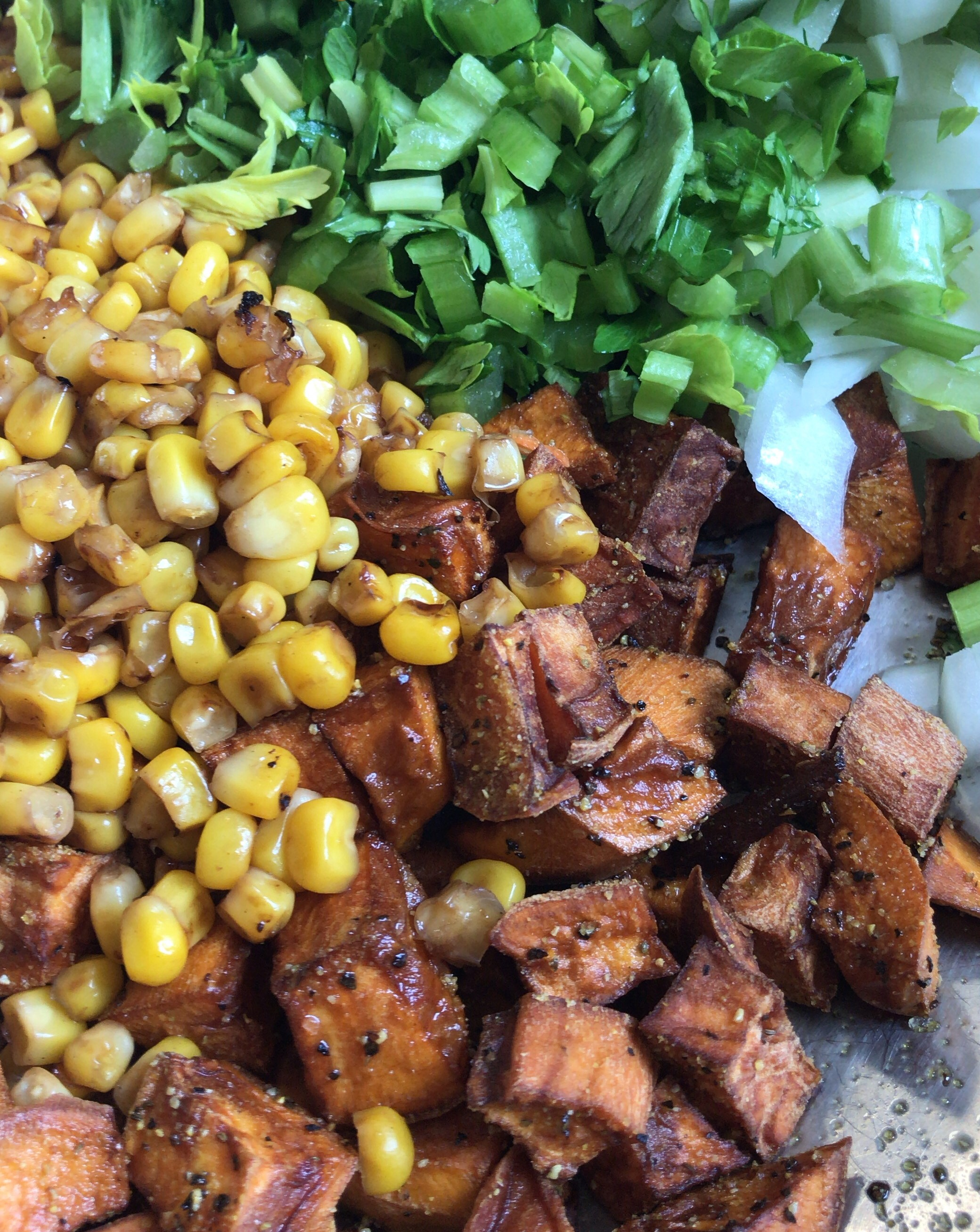 Sweet potato and grilled corn soup ingredients