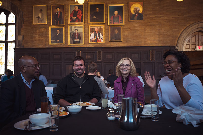 Students and faculty enjoy lunch together daily at The General Theological Seminary