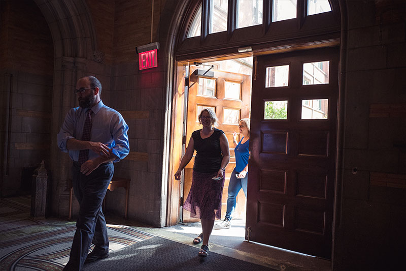The Academic Dean and guests enter the Refectory at General Seminary for lunch