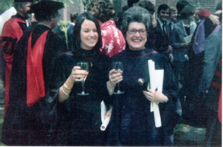 Peggy Muncie and Paige Bigelow, the first two women to receive MDivs from GTS celebrate at their commencement in 1974.