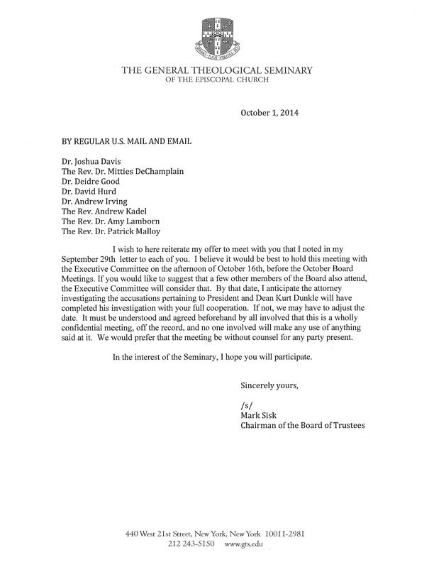 October 1 Letter