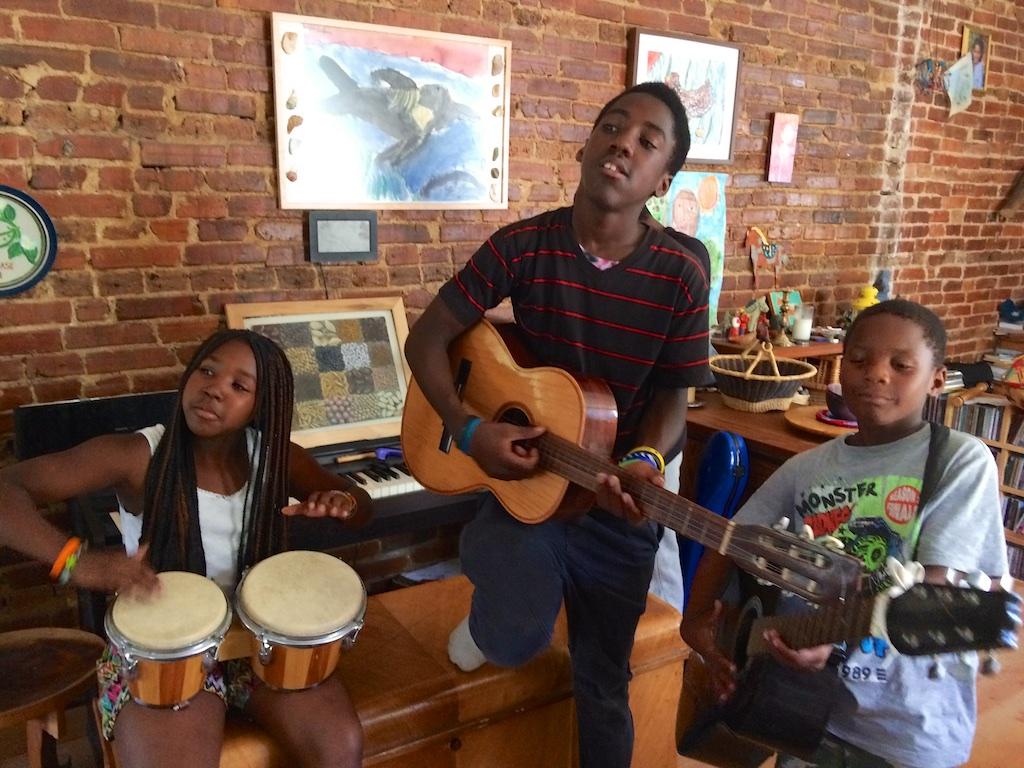 Episcopalian Michael Sarbanes (not pictured) welcomes local youth to visit and make music in his home in Baltimore's Irvington neighborhood.