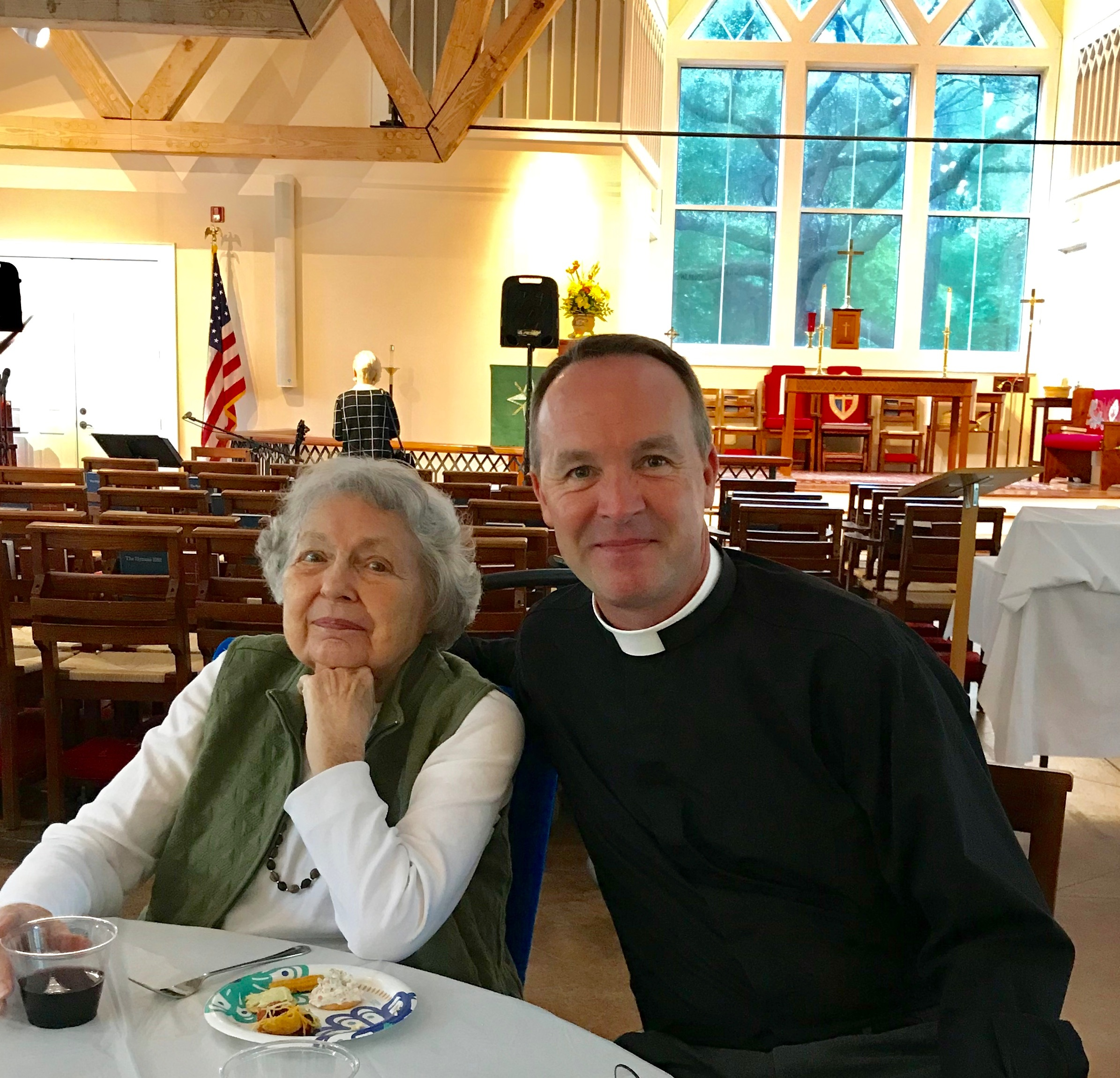 Mrs. Fenhagen with the Rev. Jason D. Roberson, former General student, now Assistant Rector at Holy Cross Faith Memorial Episcopal Church, her home parish on Pawley's Island, South Carolina.