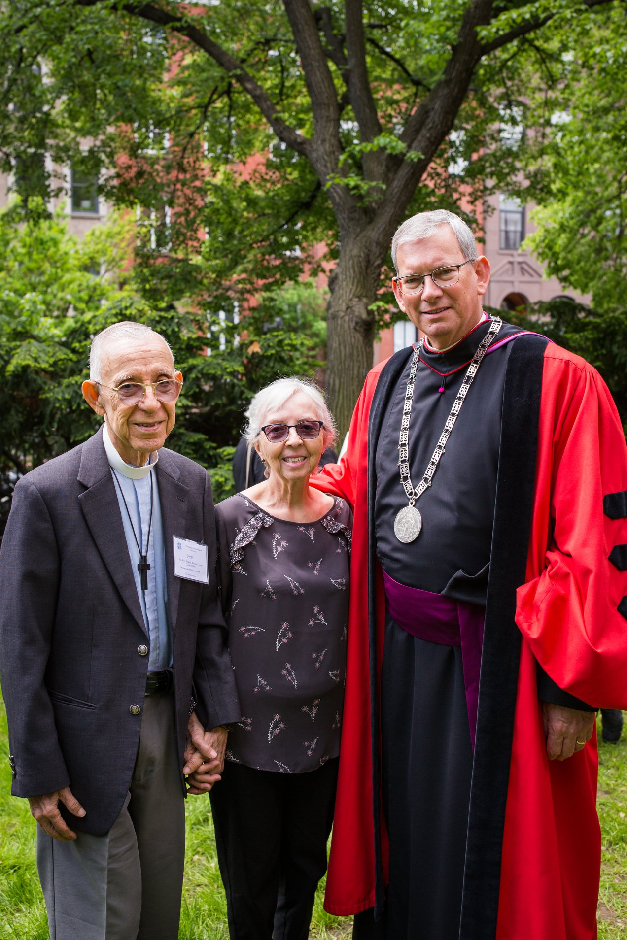 The Rev. Jorge Rivera-Torres, with his wife the Rev. Blanca Otaño and Dean Dunkle, after receiving the 2019 Distinguished Alumni Award for his service to Hispanic Episcopalian community.