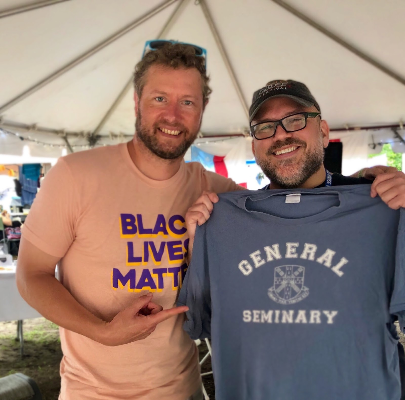 The Rev. Tommy Dillon '96, right, with festival attendee, VTS seminarian Pete Nunnally, praised the work of both seminaries partnering in the Try Tank under the leadership of Lorenzo Lebrija '14