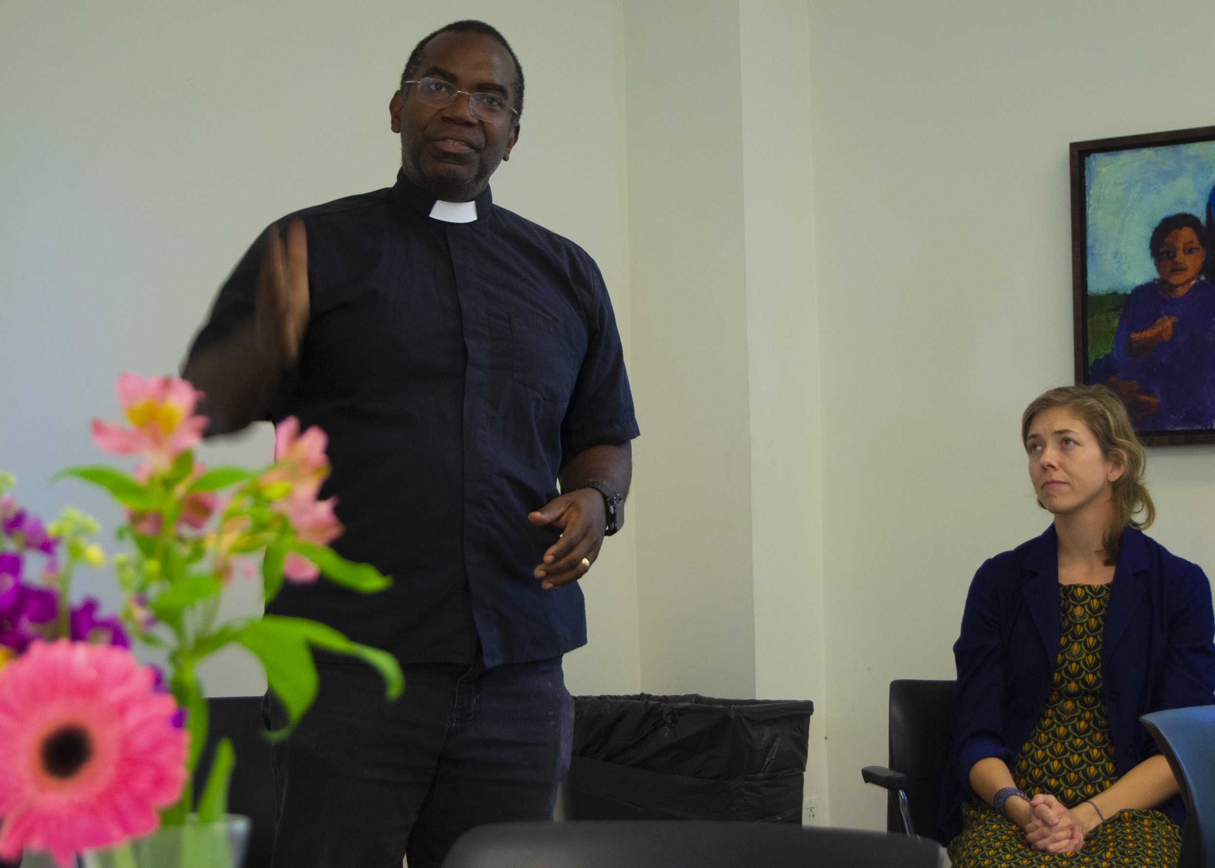 """Change the world,"" charges the Rev. Dr. Michael Battle to the new students. (Photo Credit: Akash Mathew)"