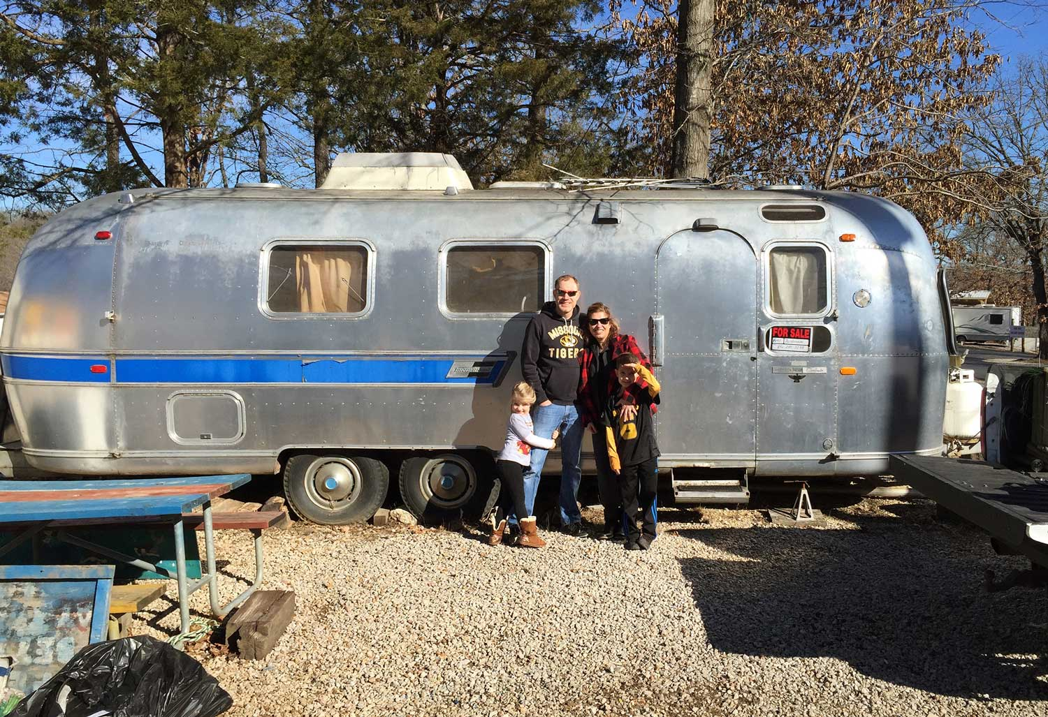 January 24, 2015: We bought our 1971 Airstream Overlander in Camdenton, Missouri. It was an exciting day! In many ways, I feel like this Airstream found us. After searching far and wide, this gem was basically in our backyard. We went to check her out and hours later, she was ours!