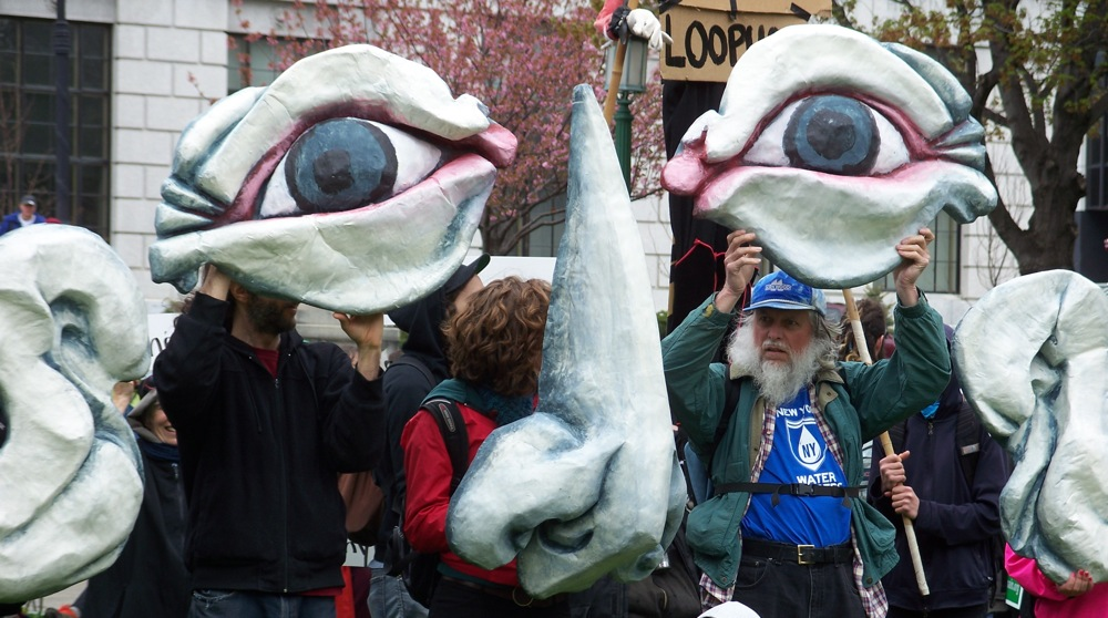 Anti-Fracking Demonstration - Defending Marcellus Shale at the Statehouse, Albany, NY, 2011; photo by Amber Kelly.