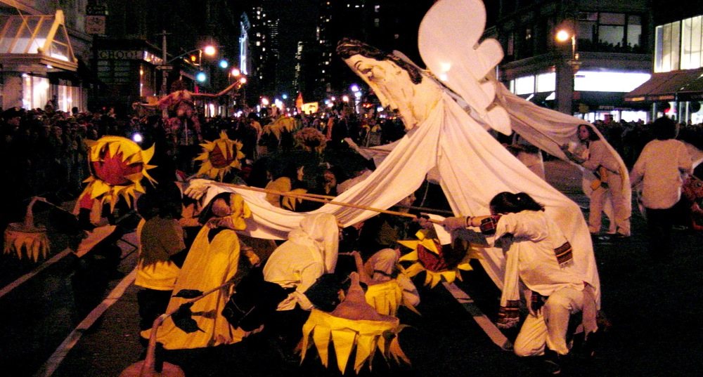 New York Village Halloween Parade  - Angels shift perspective in the wake of the World Trade Center attacks, NYC, 2001; photo by Ben Clemens.