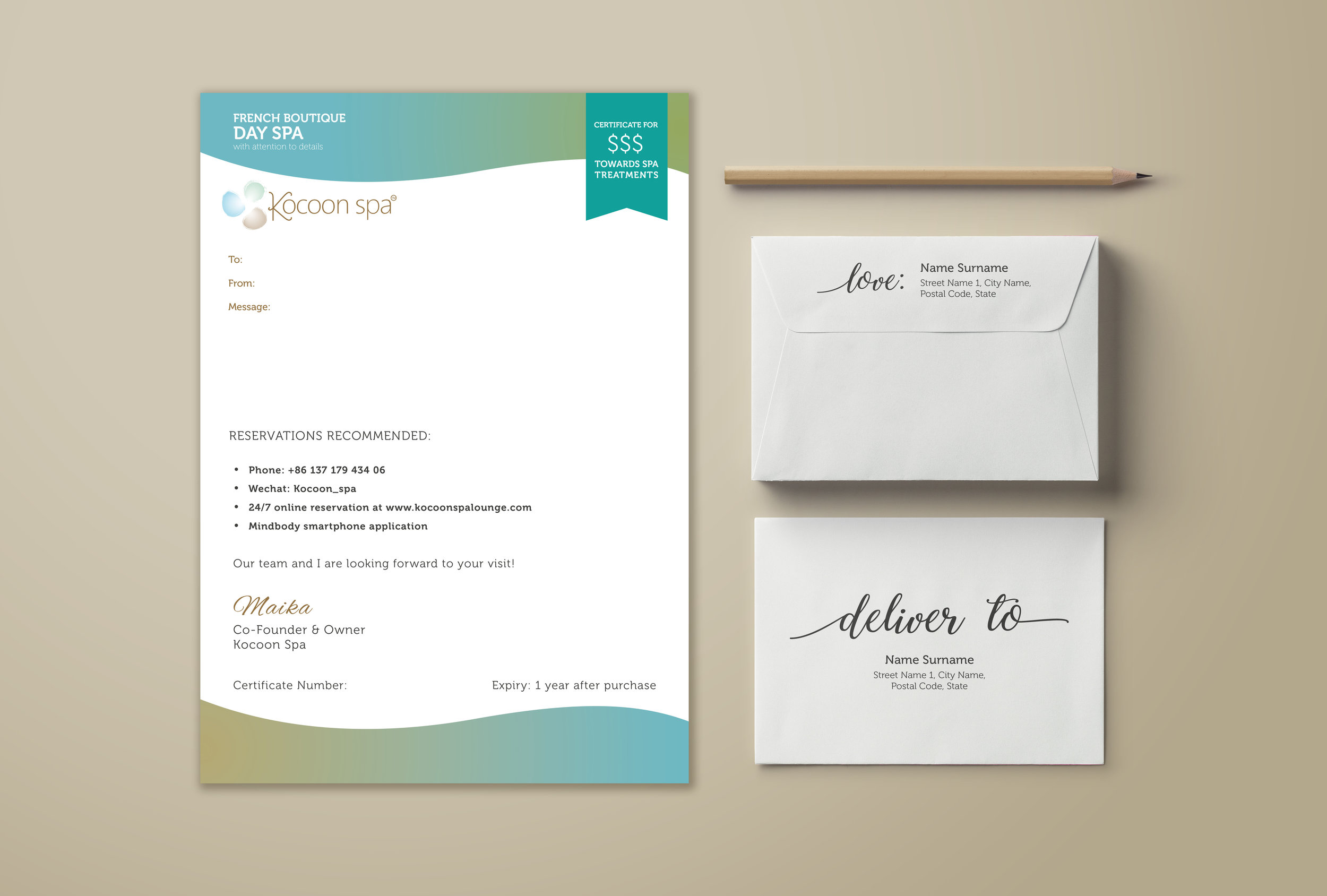 Our download e-gift certificates on the spa's website