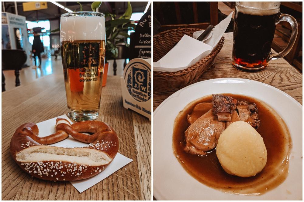 Left, a pretzel & pint in Berlin. Right, Krustenschweinbraten and a Dünkel at Hofbräuhaus.