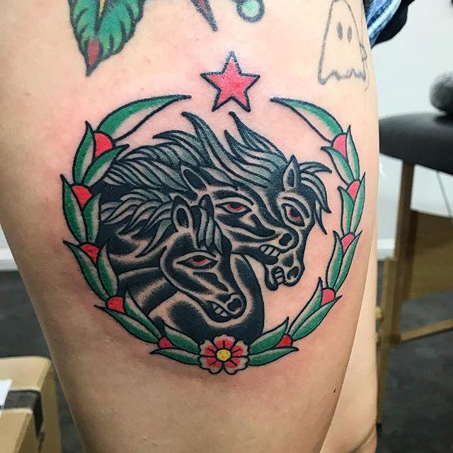 Thanks Kelsey 🐴🐴🐴 . . . . #pharaohshorses #traditionaltattoo #legtattoo #805ink #santabarbara #california #vantigerstyle #tattooerlife