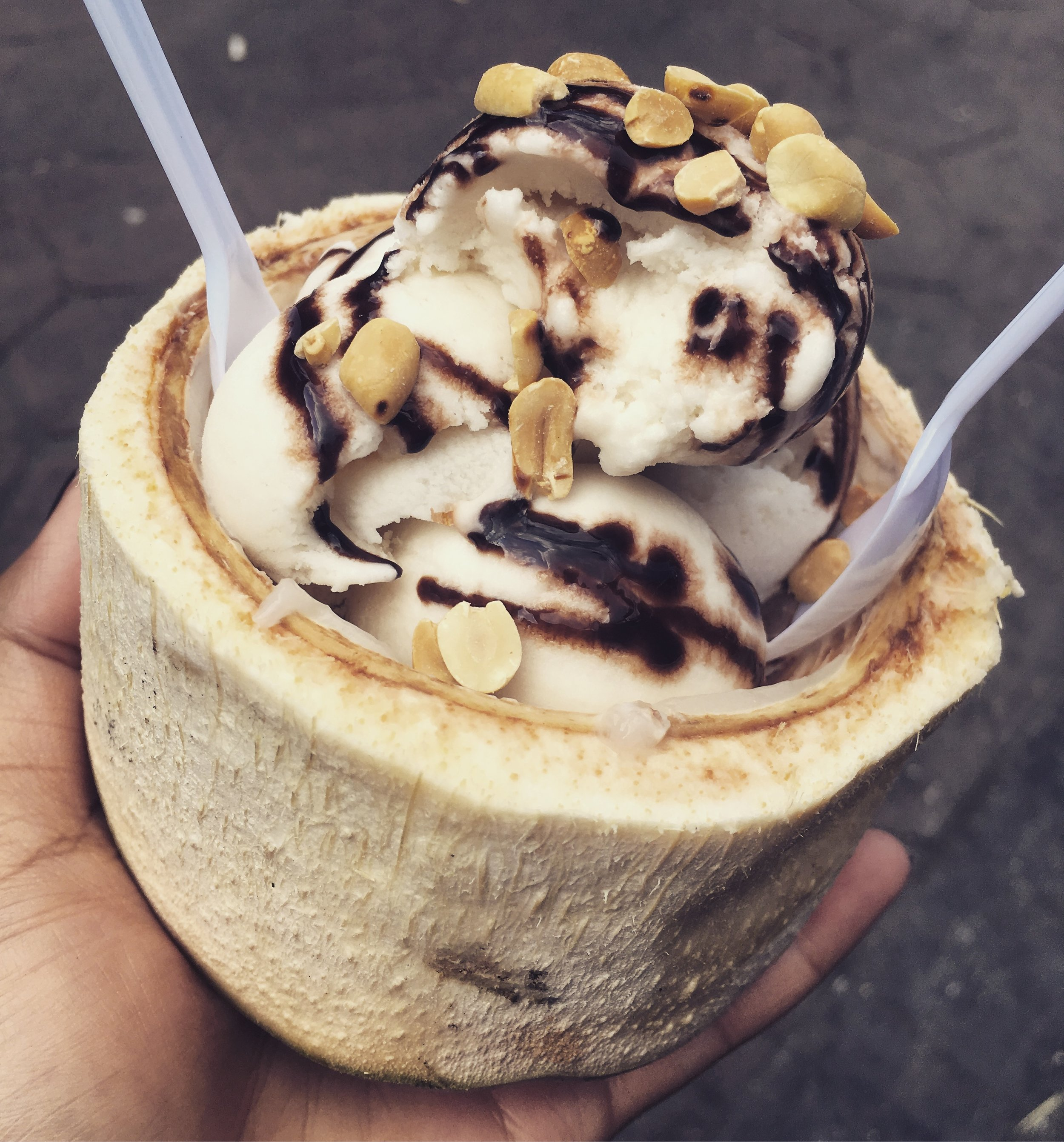 Coconut Ice Cream. Topped with any variety of jellies, nuts or similar. All served in the coconut's shell.