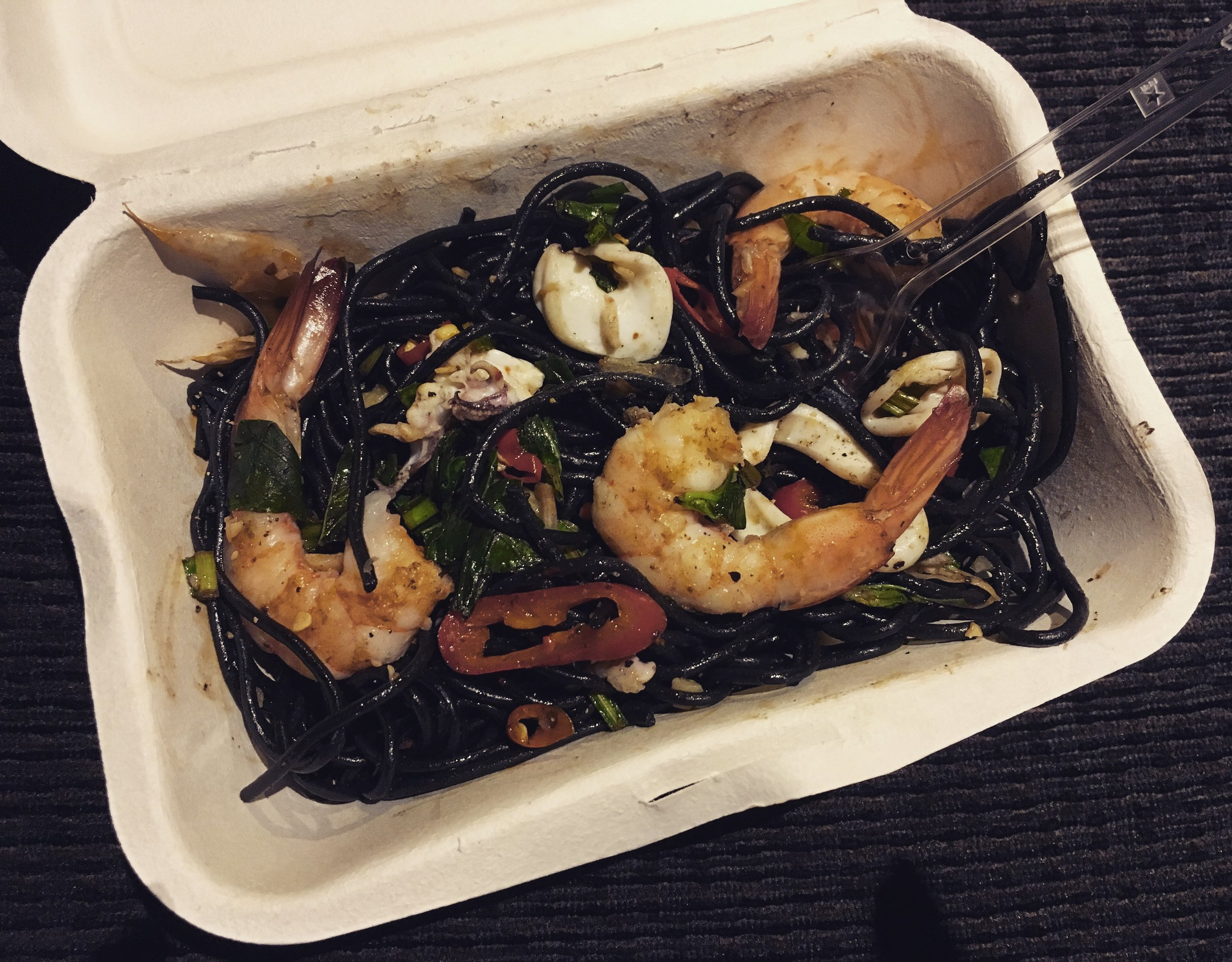 To squid ink noodles at Ratchada Night Market