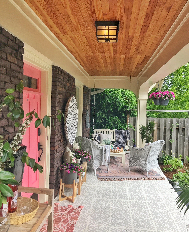 Pink door and beautiful floor!
