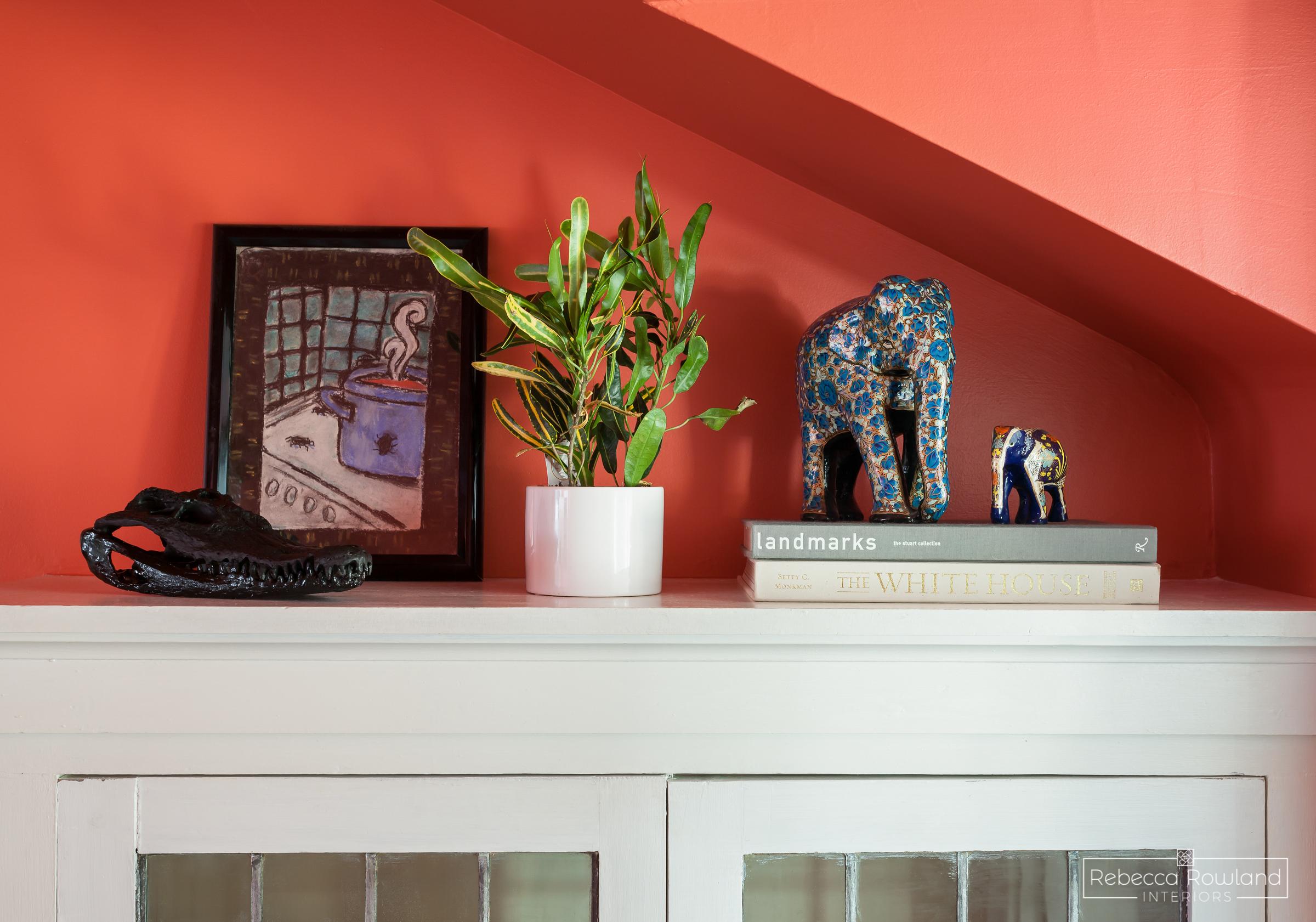 Rebecca Rowland Interiors _Roosevelt_Craftsman_seattle_interior_design_stairlanding_coral