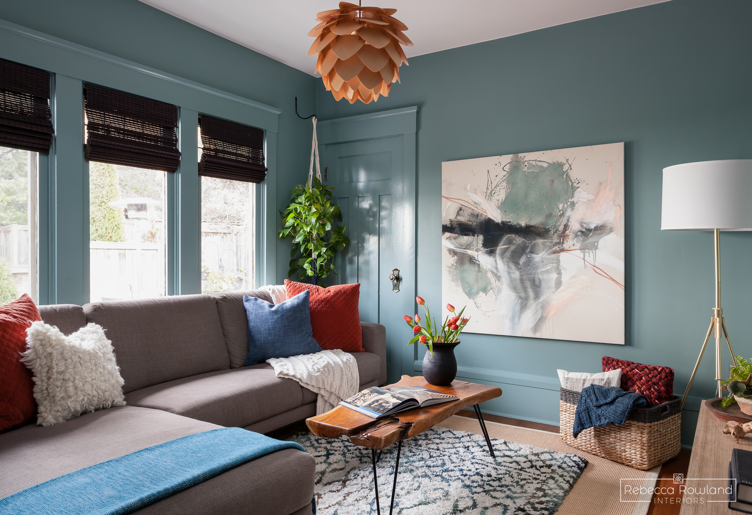 Rebecca Rowland Interiors _Roosevelt_Craftsman_seattle_interior_design_cozy_den_decor_styling_Behr_blue_grass_field_paint