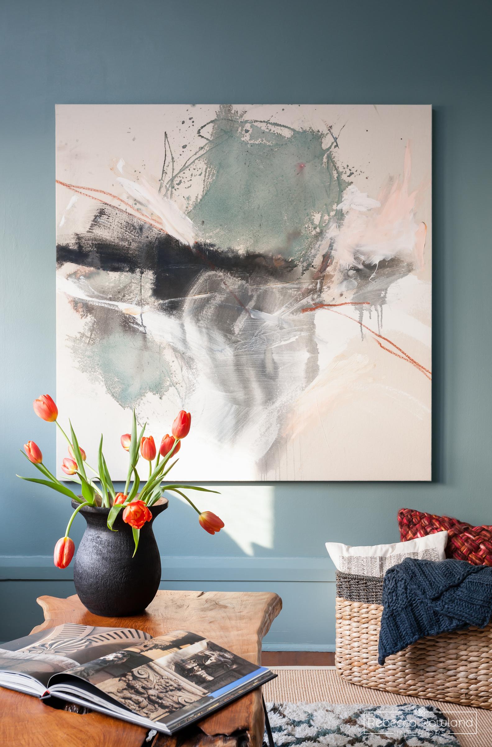 Rebecca Rowland Interiors _Roosevelt_Craftsman_seattle_interior_design_cozy_den_decor_painting_orange tulips