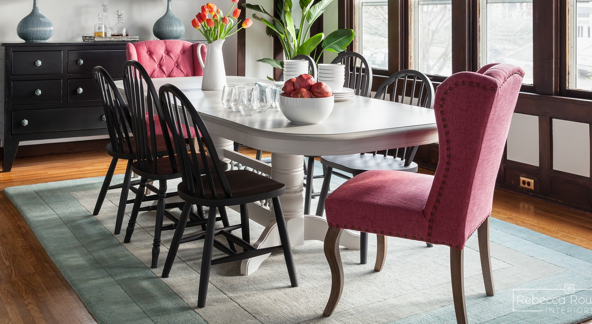 The Reveal: A Dining Room Gets a Rug that Echoes The Ceiling. Design: Rebecca Rowland Interiors. Photograph: Julie Mannell